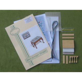 Strawberry thief dollhouse miniature stool desk bench petit point kit furniture accessories
