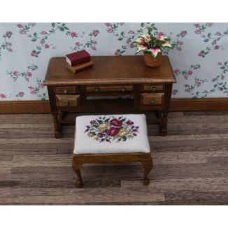 Summer roses dollhouse miniature stool desk bench petit point kit furniture accessories