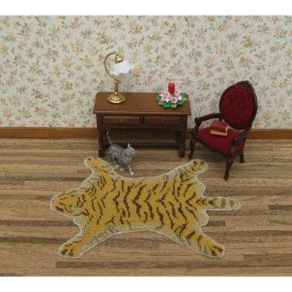 Tiger skin rug dollhouse needlepoint miniature carpet kit