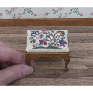 Tree of life dollhouse miniature stool desk bench petit point kit furniture accessories