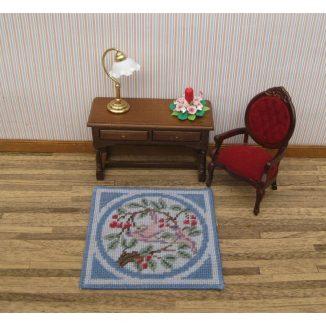 Victoria small square carpet rug dollhouse miniature petit point kit