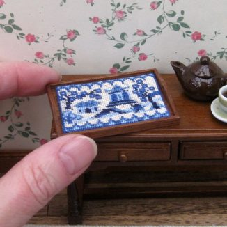 Willow pattern dollhouse needlepoint tray cloth petit point embroidery kit decoration
