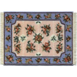 Alice, large (blue) dollhouse needlepoint carpet