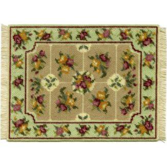 Alice, large (green) dollhouse needlepoint carpet