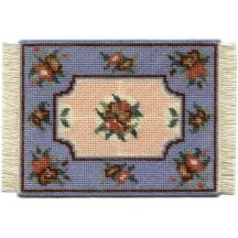 Alice small (blue) dollhouse needlepoint carpet