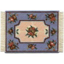 Alice small (blue) dollhouse needlepoint carpet