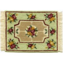 Alice small (green) dollhouse needlepoint carpet