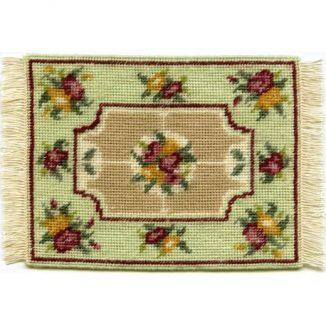 Alice small (green) dollhouse needlepoint carpet