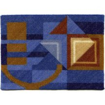 Alma (blue) dollhouse needlepoint carpet