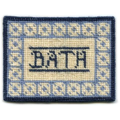 Bathmat (blue) dollhouse needlepoint carpet