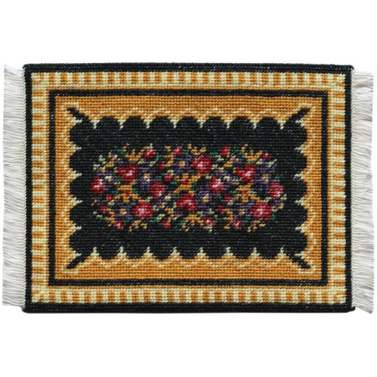 Berlin Woolwork, small dollhouse needlepoint carpet