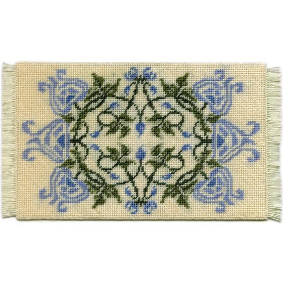 Josie (blue) dollhouse needlepoint carpet