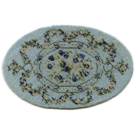 Kate oval (blue) dollhouse needlepoint carpet
