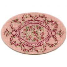 Kate oval (pink) dollhouse needlepoint carpet