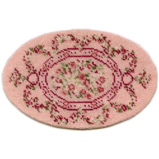 Kate oval (pink) dollhouse needlepoint carpet