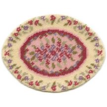 Lilian, oval (pink) dollhouse needlepoint carpet