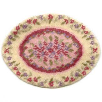 Lilian, oval (pink) dollhouse needlepoint carpet