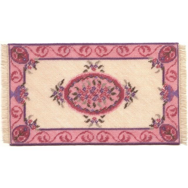 Lilian (pink) dollhouse needlepoint carpet