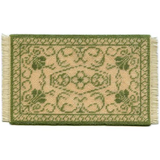 Rosanna (green) dollhouse needlepoint carpet