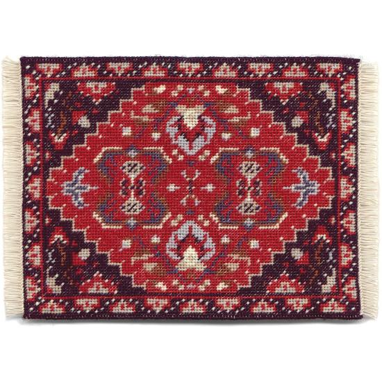 Yvonne (red) dollhouse needlepoint carpet