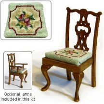 Dollhouse needlepoint dining chair kit, Alice (green)