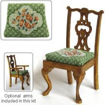 Dollhouse needlepoint dining chair kit, Barbara Green
