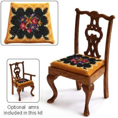 Dollhouse needlepoint dining chair kit, Berlin Woolwork