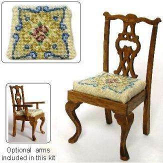 Dollhouse needlepoint dining chair kit, Judith