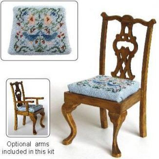 Dollhouse needlepoint dining chair kit, Strawberry Thief