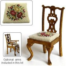 Dollhouse needlepoint dining chair kit, Summer Roses