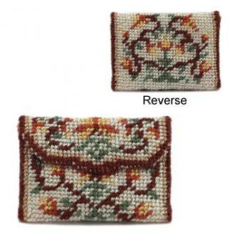 Dollhouse needlepoint clutch bag kit - Peony