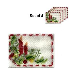 Dollhouse needlepoint placemat kit - Christmas Candles