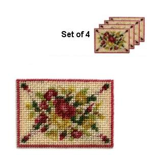 Dollhouse needlepoint placemat kit - Summer Roses