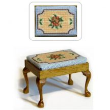 Dollhouse needlepoint rectangular stool kit, Alice (blue)