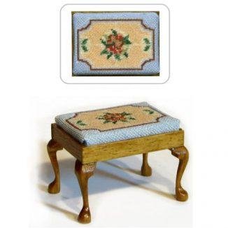 Dollhouse needlepoint rectangular stool kit, Alice (blue)