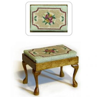 Dollhouse needlepoint rectangular stool kit, Alice (green)
