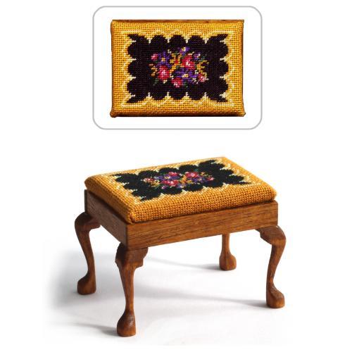Dollhouse needlepoint rectangular stool kit, Berlin Woolwork