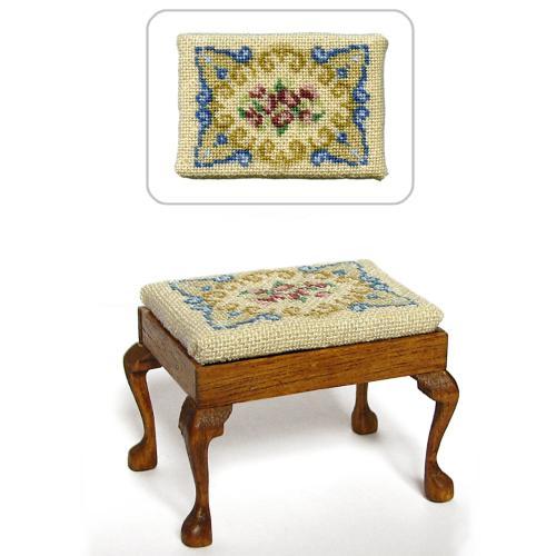 Dollhouse needlepoint rectangular stool kit, Judith