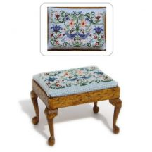 Dollhouse needlepoint rectangular Stool kit, Strawberry Thief