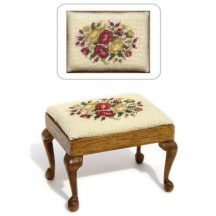 Dollhouse needlepoint rectangular Stool kit, Summer Roses