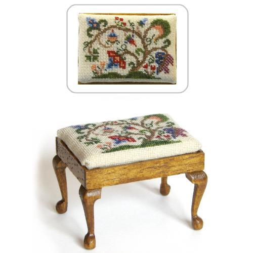 Dollhouse needlepoint rectangular stool kit, Tree of Life