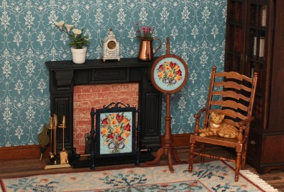 "Dollhouse room with pole screen ""Spring Flowers"""