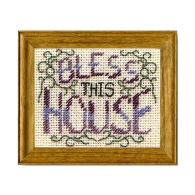 Bless This House dollhouse needlepoint sampler kit