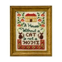 Cat dollhouse needlepoint sampler kit