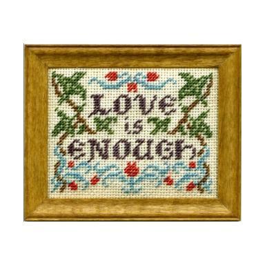 Love Is Enough dollhouse needlepoint sampler kit