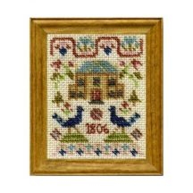 Peacock dollhouse needlepoint sampler kit