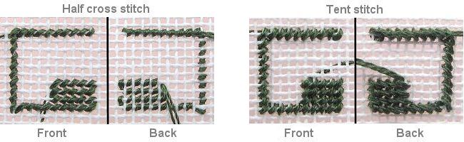 Compare tent stitch with half cross-stitch