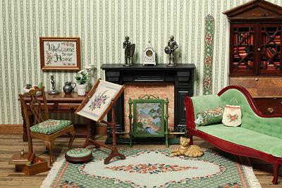 A carpet in a dollhouse room