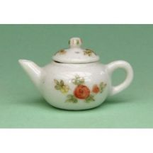 Dollhouse scale teapot (peach floral on white)