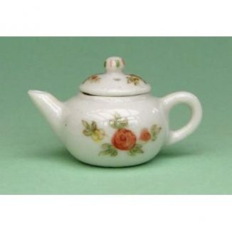 Dollhouse scale teapot (peach floral on white)
